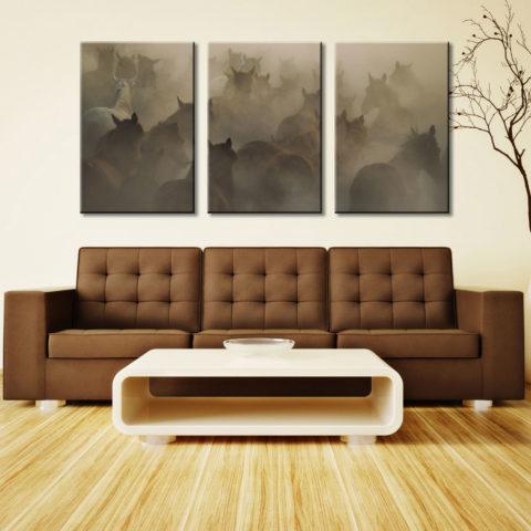 In Dust Horses 3 Panel Photo Canvas Print Set Australia