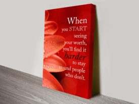 worth inspirational quotes wall art canvas print