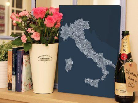 Italy Type Map Canvas Art