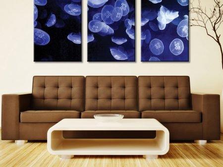 Jellyfish Three Piece Artwork Canvas Stretching