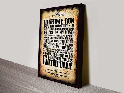 Journey Faithfully Song Lyrics Wall Art Australia
