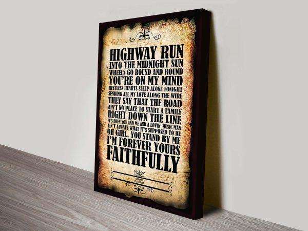 Journey Faithfully Song Lyrics Wall Art Australia
