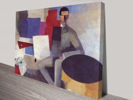 Sitting Man By La Fresnaye Classical Art Print