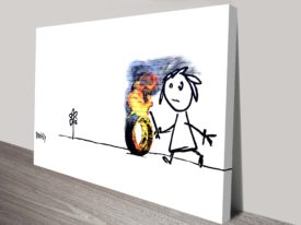 kids tyres banksy canvas print