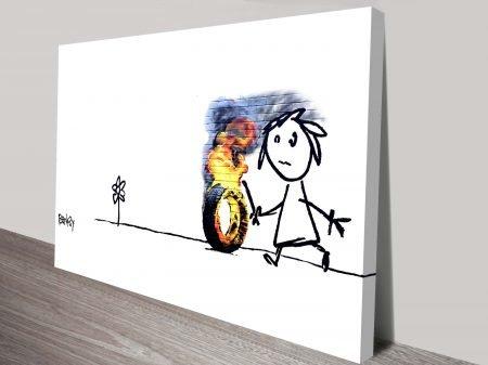 kids tyres banksy canvas print