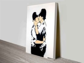 Kissing Policemen Banksy Art Print