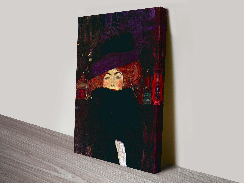 Gustav Klimt Lady with Hat and Feather Canvas Print Sydney c7109d972d2