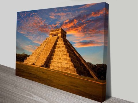 El Castillo Chichen Itza Kukulcan Aztec Temple Ready to Hang Print