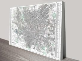 Large Map of_Manchester City Canvas Art