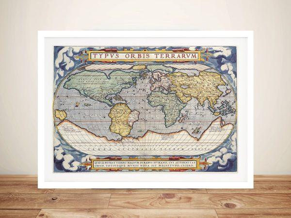Antique Maps of the World Abraham Orteliusc 1570