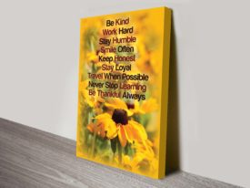 secret to happiness quote wall art canvas print