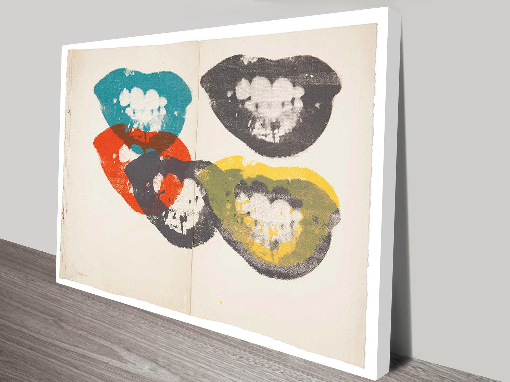 Lips By Andy Warhol Vintage Pop Art Print On Canvas & Lips by Andy Warhol Print on Canvas Melbourne Australian Wall Art