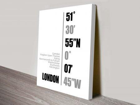 London coordinates framed wall art