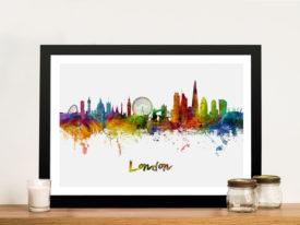 London Skyline Watercolour Wall Art Print by Michael Tompsett