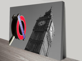 London Scenes Black and White Canvas Print