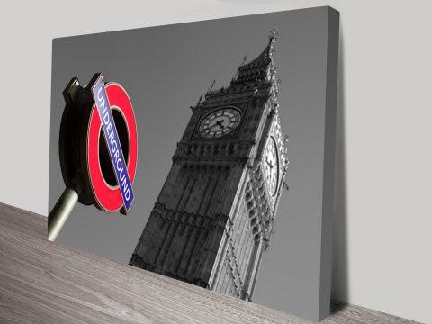 London Scenes Black and White Canvas Print