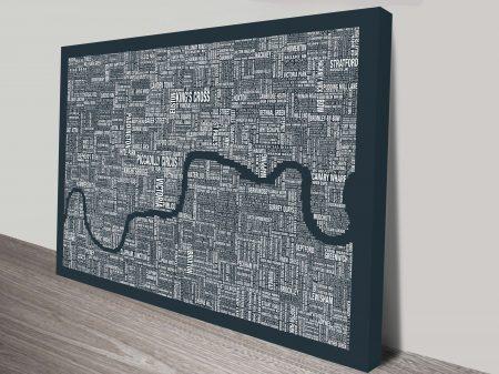 London Word Map Wall Art