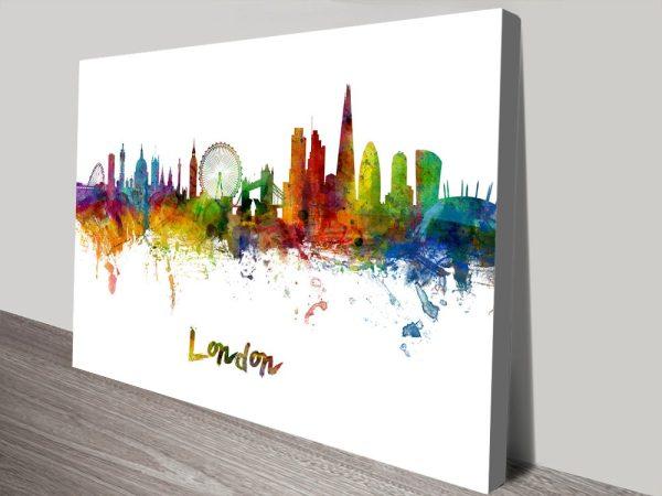 London Skyline Watercolour Michael Tompsett Canvas Art Print