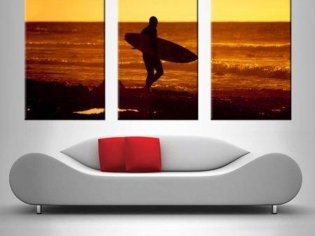 sunset surfer triptych wall art canvas print