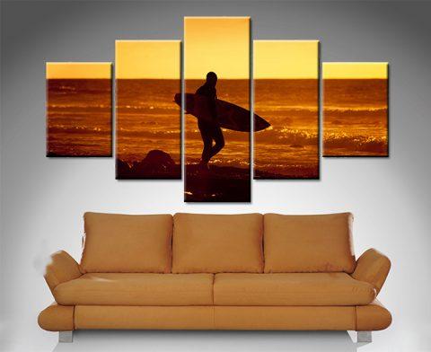 sunset surfer 5 panel wall art canvas print