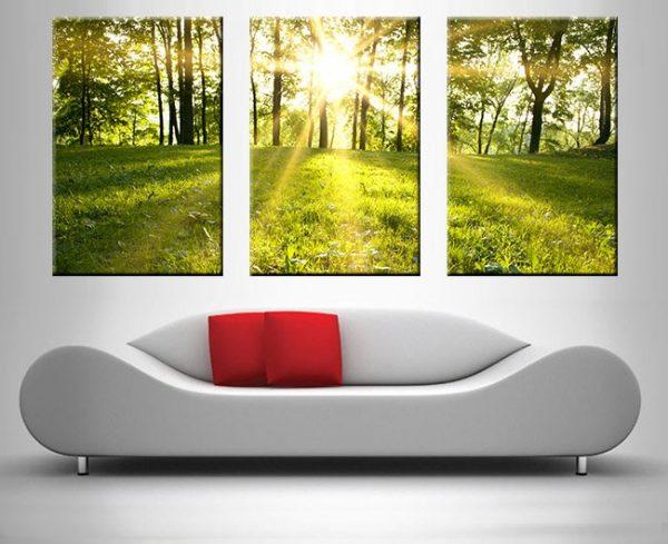 sunlit meadows triptych wall art print on canvas australia