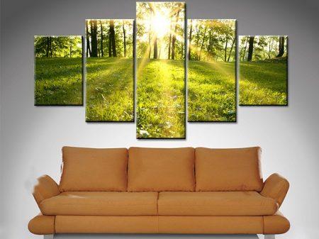 sunlit meadows 5 panel wall art print on canvas australia