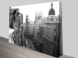Madrid City Black & White Art Canvas Prints
