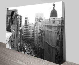Madrid City Black & White Art Canvas Prints