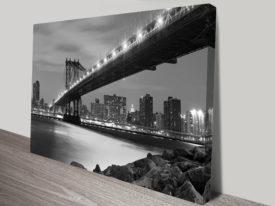 Manhattan Bridge Black and White Canvas Print