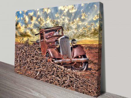 Vintage Car at Sunset Canvas Print