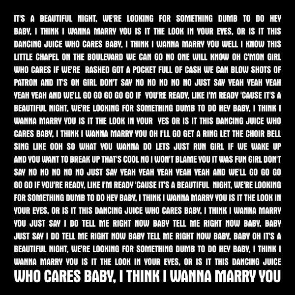 Marry You Bruno Mars Song Lyrics Artwork