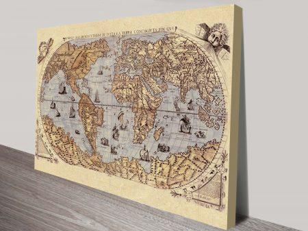 Medieval World Map Canvas Art Print Online