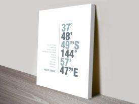 Melbourne Monochrome Coordinates Longitude Latitude Places Wall Art