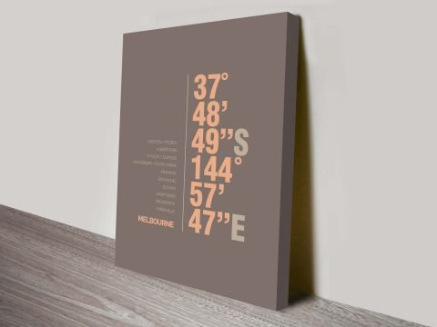 Melbourne Brown Coordinates Longitude Latitude Canvas Wall Art