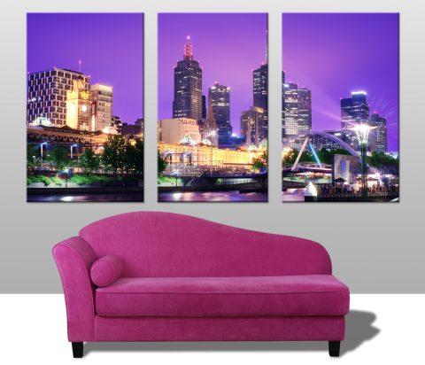 Buy Melbourne Nights Triptych Wall Art