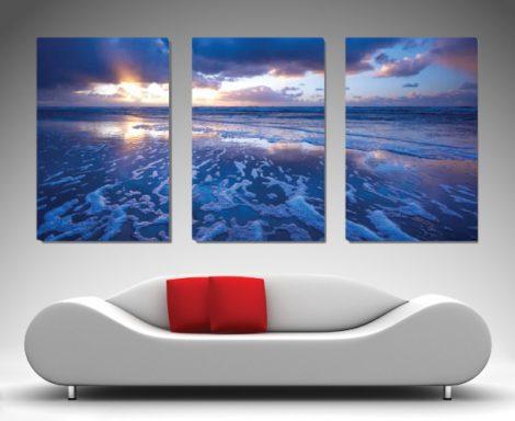 Buy Mellow Blue Triptych Oceanscape Canvas Art