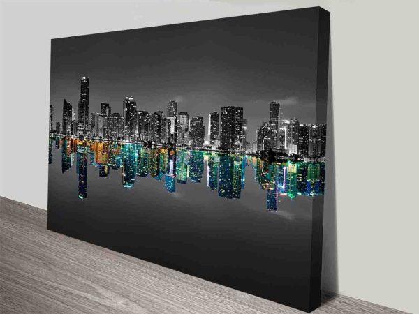 black and white midtown miami skyline canvas print australia