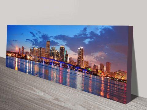 Miami city skyline panorama Canvas print