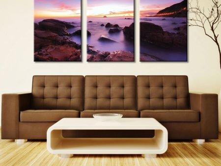 Misty Purple Shores 3 Panel
