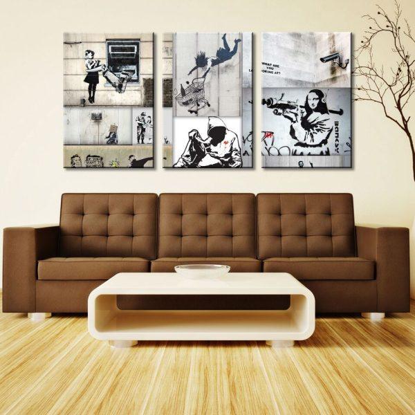 Mono Colour Collage Triptych Wall Art