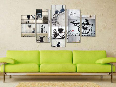 Banksy Mono Colour Collage 5-Panel Set