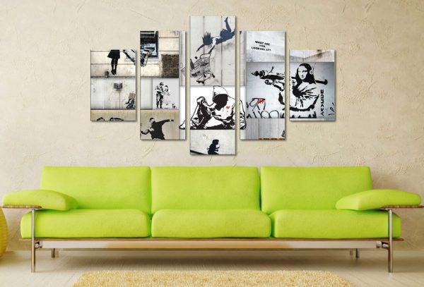 Mono Colour Collage 5 Panel