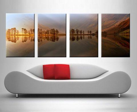 Mountain Lake Reflections 4 Panel