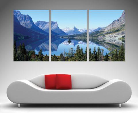 Mountain Reflections 3 panel art