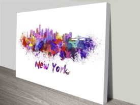 new york watercolour splash wall art canvas print