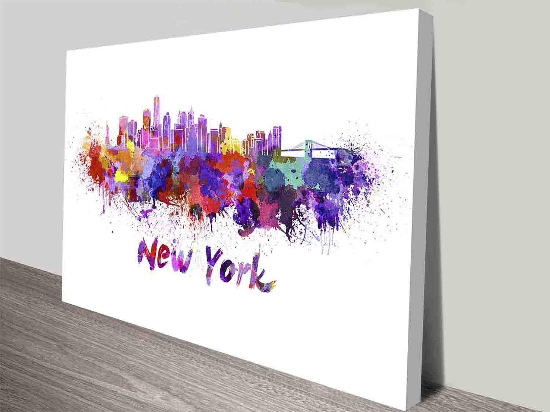 New york watercolour splash wall art canvas print