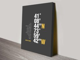 Grey New York Coordinates Wall Art Canvas Printing Australia