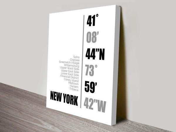 New York Coordinates Wall Art Canvas Printing cheap