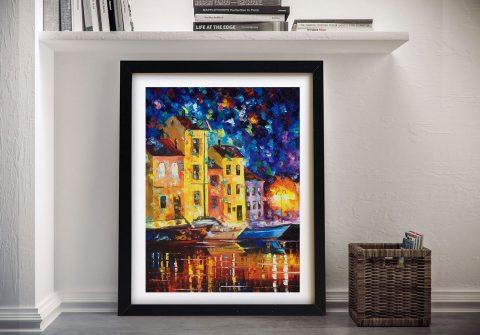 Night City Afremov Framed Wall Art Decor