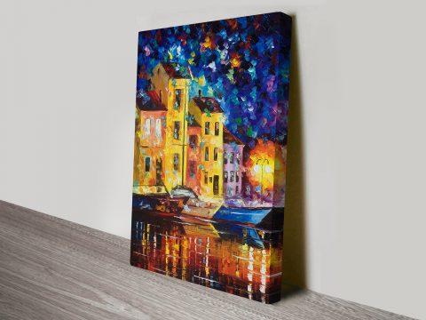 Night City Leonid Afremov Canvas Print